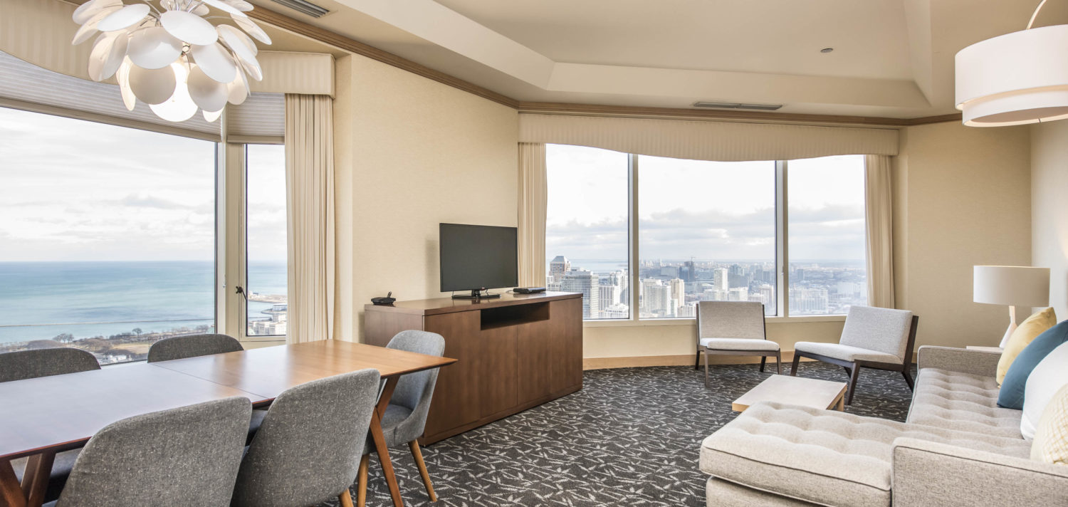Suite with desk and entertainment center