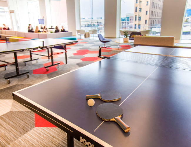 Ping pong table in a loungeing pong table in a lounge