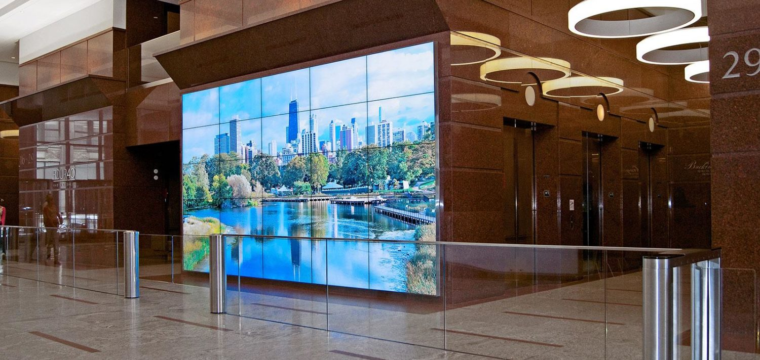 Video wall in lobby